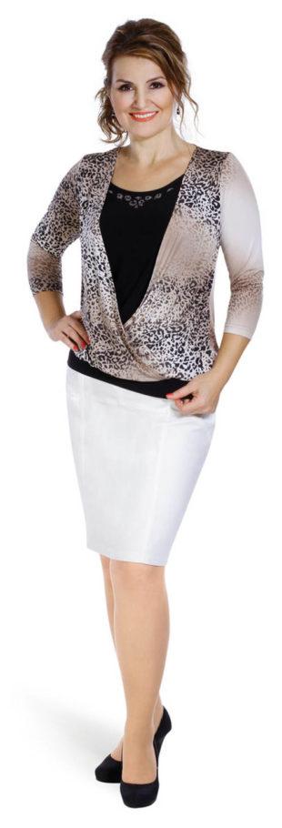 Elastická koženková sukňa pre plnoštíhle