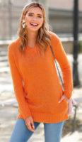 Jednofarebný dámsky sveter s vreckami