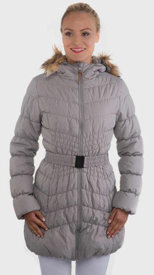 Zľavnená dámska sivá prešívaná zimná bunda