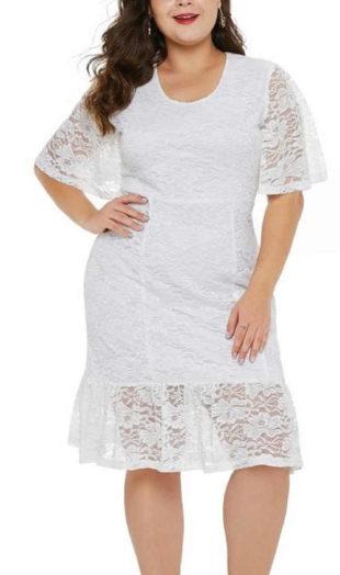 Dámske čipkované šaty s krátkym rukávom v bielej farbe