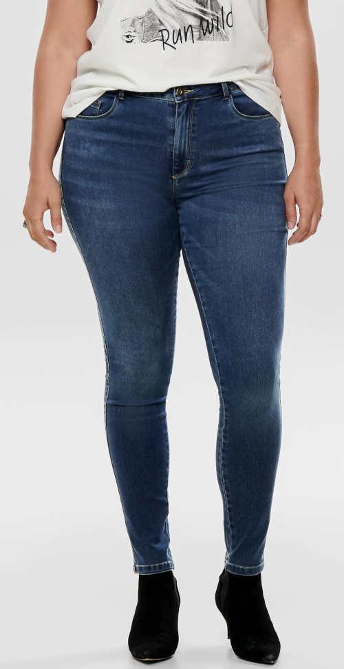Dámske džínsy XXL s pracím efektom