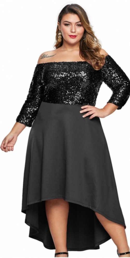 Flitrové plesové šaty pre plnoštíhle ženy s voľnou asymetrickou sukňou