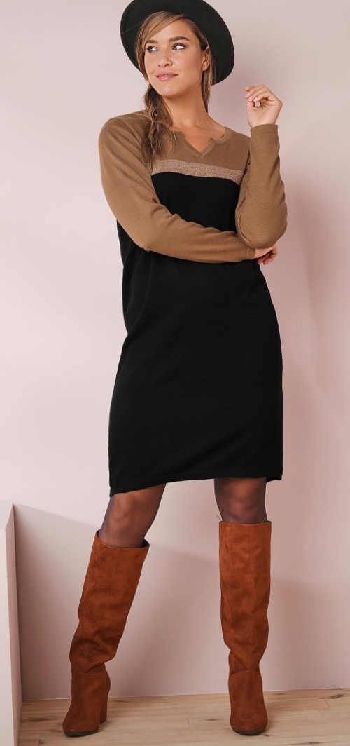 Hnedo-čierne dámske pletené šaty Blancheporte