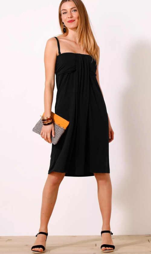 Jednofarebné elegantné šaty s odnímateľnými ramienkami