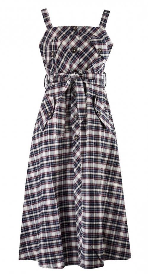 Kárované letné šaty s opaskom