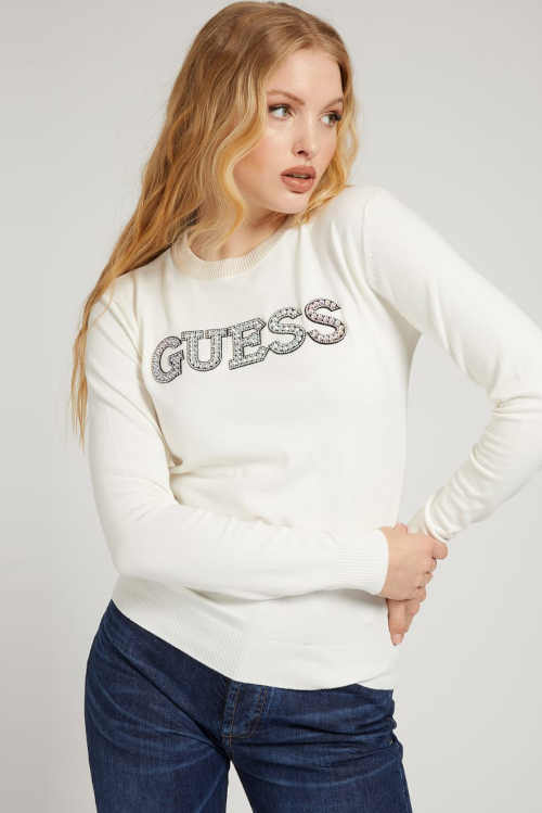 Krémový ľahký sveter Guess s výrazným nápisom na prednej strane