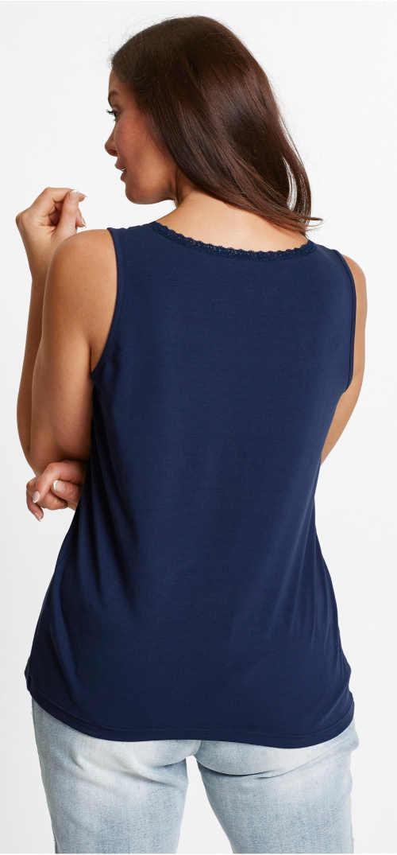 Modré dámske nadrozmerné tielko s čipkovaným lemom