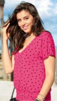 Ružové dámske tričko XXL s čiernymi bodkami