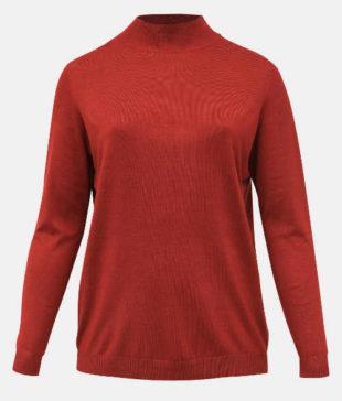 Tehlový základný dámsky sveter XXL