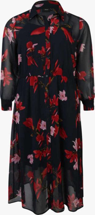 Čierne dlhé košeľové šaty s kvetinovou potlačou
