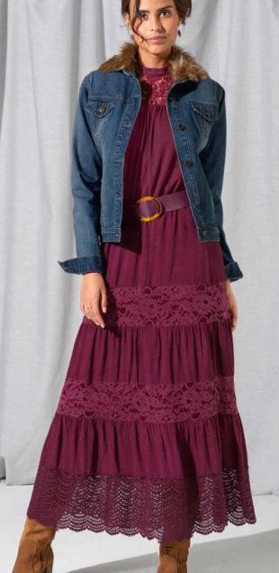 Dlhá fialová dámska maxi sukňa s čipkou