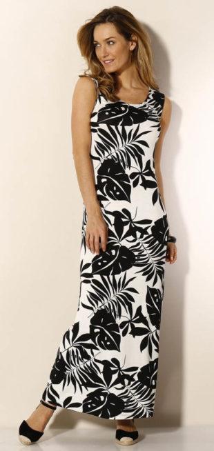 Dlhé čiernobiele šaty s potlačou