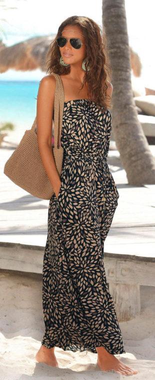 Letné dámske maxi šaty bez ramienok