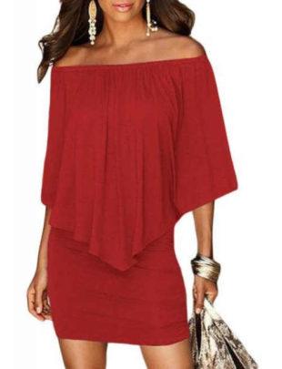 Módne dámske šaty v červenej farbe a vrstvenom strihu